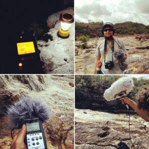 Equipe faz captação de áudio para o projeto/ Fonte; Arquivo do Grupo
